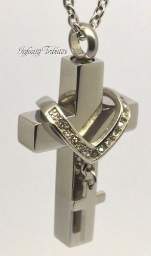 Twin Block Cross Cremation Urn Necklace Keepsake Pendant for Ashes