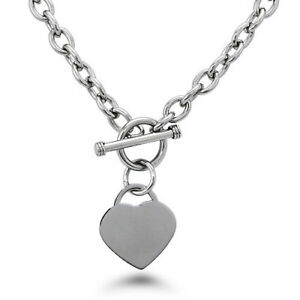 Stainless-Steel-Heart-Charm-Tag-Toggle-Necklace-18-034-FREE-ENGRAVING
