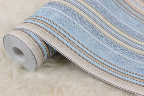 Wallpaper blue beige textured modern stripes lines damask wall coverings rolls