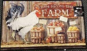 Printed Nylon Kitchen Rug Nonskid 18 X30 Fresh From The Farm Rooster Rec Cat Ebay
