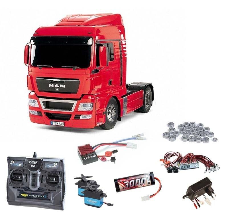 Tamiya MAN TGX 18.540 4x2 XlX-rojo kit completo + LED, rodamientos de bolas  56332set2