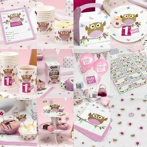 little owl pink baby shower birthday party tableware girls decorations