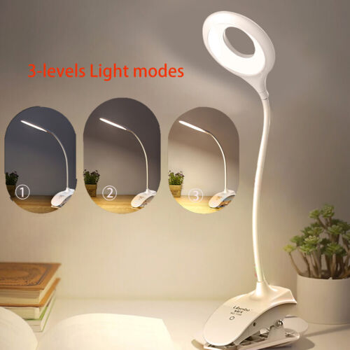 18LED USB Rechargeable Clip-on Desk Lamps Work Reading Night Lights Touch Sensor