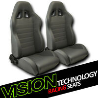 Jdm Sp Style Gray Pvc Leather Reclinable Racing Bucket Seats W/sliders Pair V12 on Sale