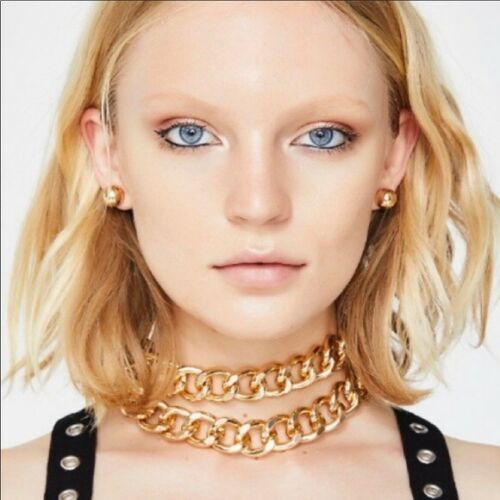 Dolls Kill Bold Double Chain Gold Short Necklace