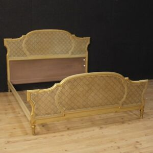 Exceptionnel Image Is Loading Double Bed Furniture Italian Lacquered Golden Wood Antique