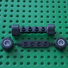 LEGO :2 Black 1 x 4 Axle Plate - 2926, & 4 wheels & tyres 74967 & 30028.City.