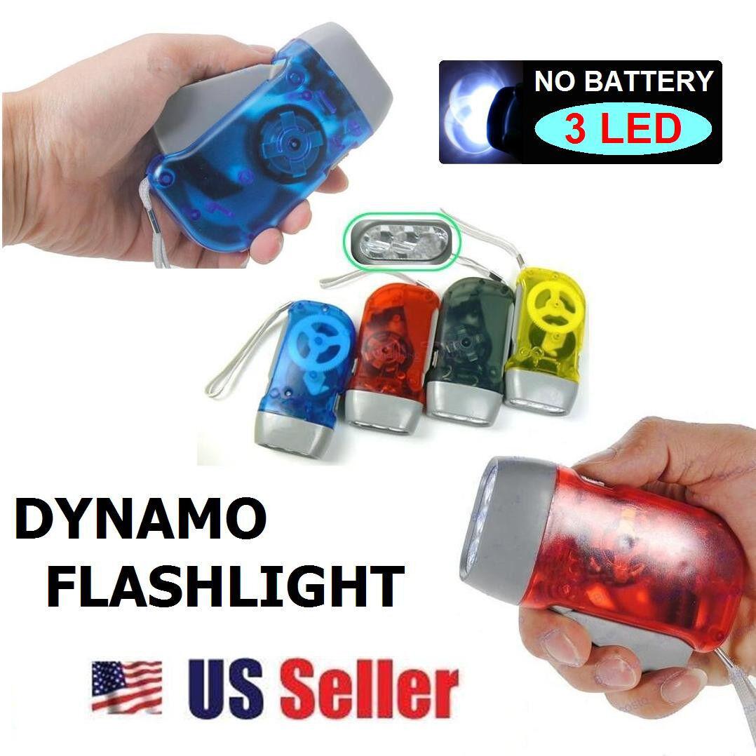 Hand Press 10 Lumens No Battery Dynamo Crank Wind 3 LED Flashlight Torch NEW