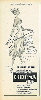 Collectibles Publicite Advertising 024 1955 Cidena Lingerie Nuisette
