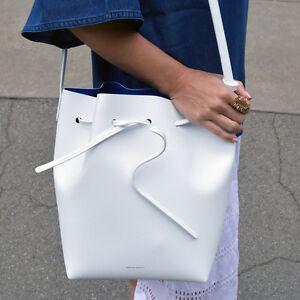 Image is loading Mansur-Gavriel-White-Royal-Mini-Bucket-Bag-Saffiano-