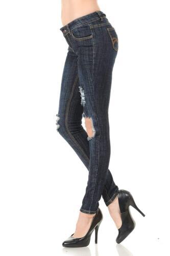 Juniors WOMENS Stretch BLUE Denim JEANS Destroy Skinny Ripped Distressed Pants