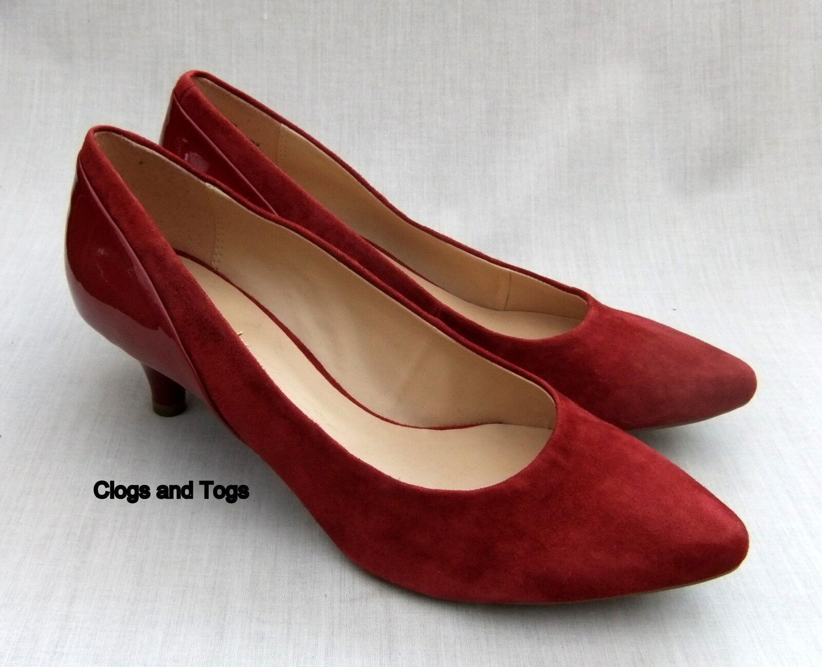 New Clarks Dauphin plongée femme bordeaux Daim Chaussures Vernies Taille 4 37