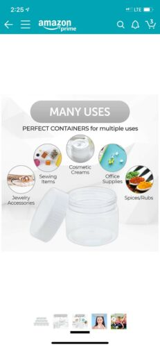 Lot of 6 two-ounce Clear PET plastic Jar With Lid Container slime craft supplies