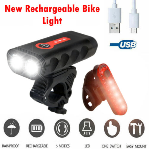 Bicycle LED Head and Tail Cycling Bike Front Back Headlight Set USB Rechargeable