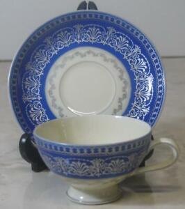 Vtg-Thomas-Ivory-Demitasse-Cup-amp-Saucer-Deep-Cobalt-Platinum-tea-coffee-Bavarian