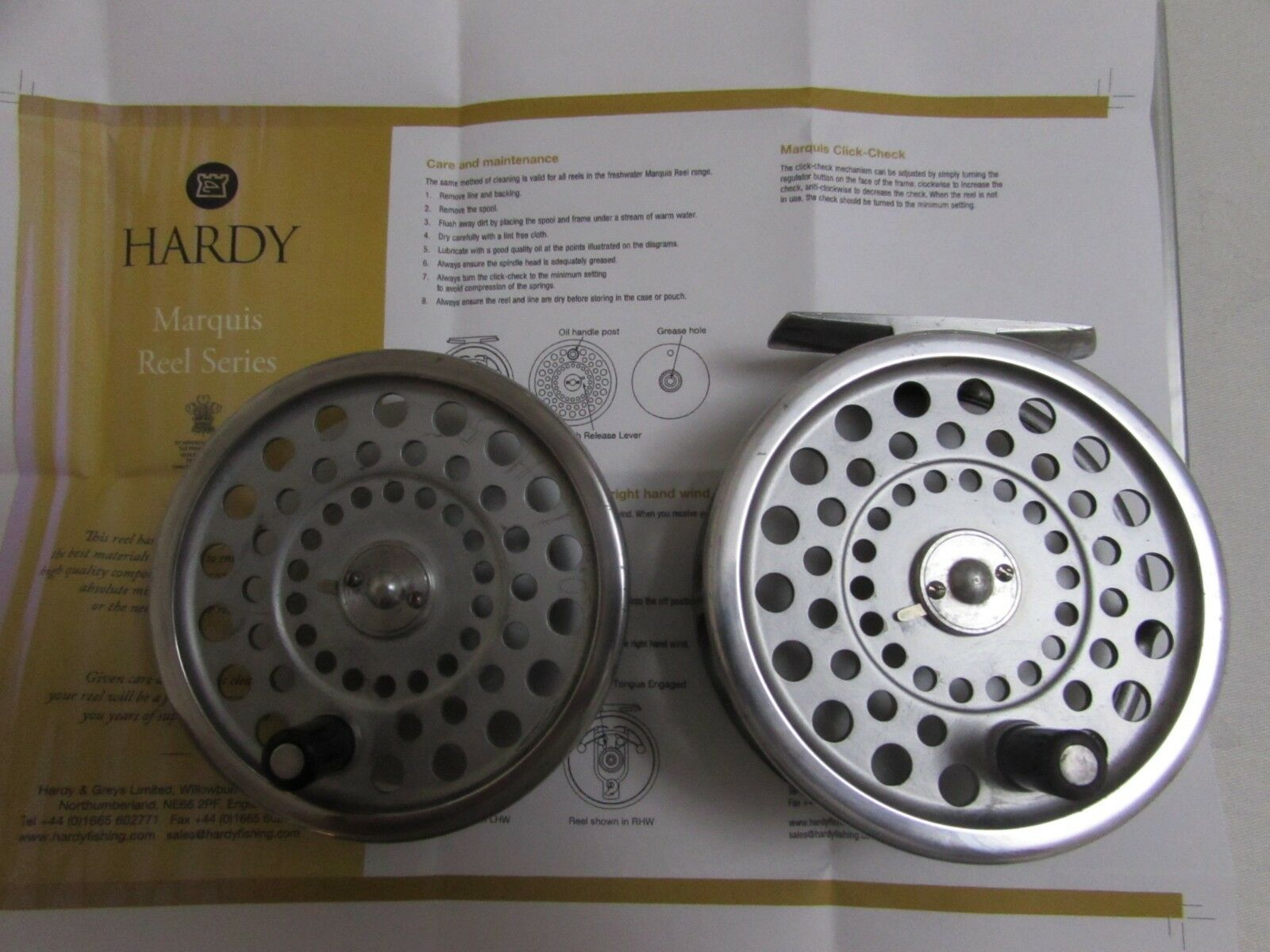 Very good vintage hardy marquis no 7 trout fly fishing reel 3.5  + spool .,.,