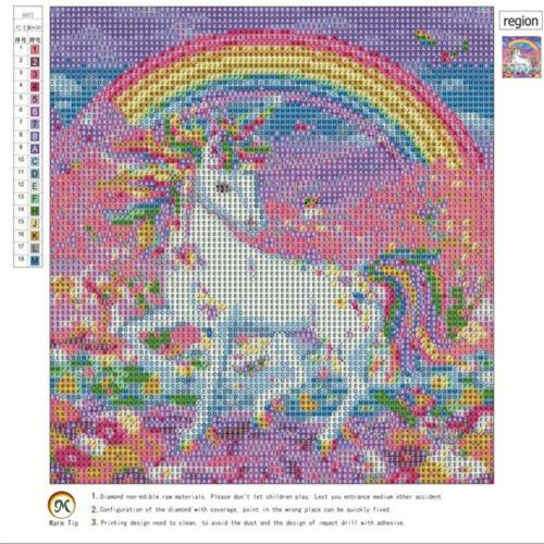 Rainbow Full Unicorn DIY 5D Full Diamond Painting Embroidery Cross Stitch DM