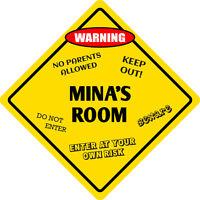 Aluminum Mina's Room Kids Room Door 12x12 Metal Novelty Sign