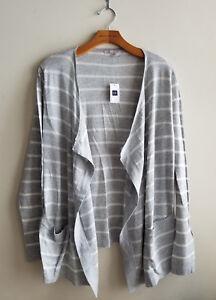Gap-Women-039-s-Open-Front-Cardigan-Cotton-Blend-Gray-Striped-Size-M-NWT