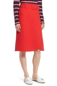 HALOGEN-Red-A-Line-Midi-Belted-Preppy-Skirt-Sz-4-Petite-NEW