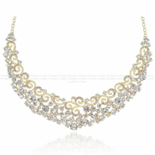 Details about  /YT234 Clear Rhinestone Crystal Alloy Earrings Necklace Set Unbranded Bridal Gift