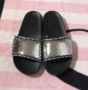 4ae38992a302 Victoria s Secret Pink Slides Silver Sequin Bling Black Sandals - S ...