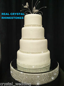 Image Is Loading Diamante Rhinestone Wedding Cake Stand Mirrored Real Swarovski