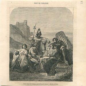 Poste-avance-de-Routiers-Soldat-Pretre-Duval-Le-Camus-Peintre-GRAVURE-PRINT-1860