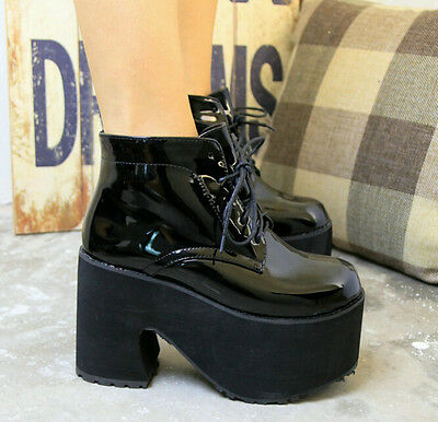 Cosplay Punk Harajuku Womens Girls Platform High Heel Ankle Lace Up Riding Boots