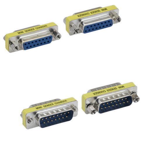 2 X DB15 Mini Gender Changer Male Female M//M F//F Adapter 15 Pin D-Sub PC MAC VGA