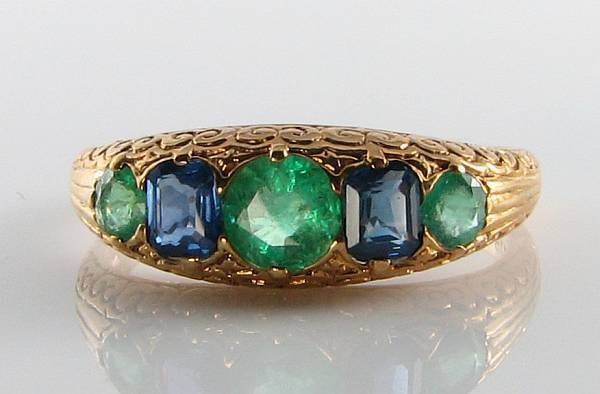 CLASS COMBO 9K 9CT gold SAPPHIRE EMERALD ETERNITY ART DECO INS RING FREE RESIZE