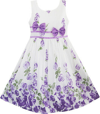 Girls Dress Purple Rose Flower Double Bow Tie Party Sundress Size 4-12