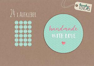 24-x-Geschenkaufkleber-034-Handmade-with-Love-034-40mm-tuerkis-Etiketten-Aufkleber