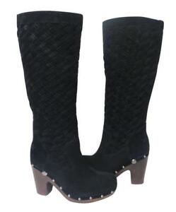 768e0bf12a4 Details about New NIB Ugg Arroyo Tall Basketweave Woven Suede Shearling  Clog Boots Black RARE!