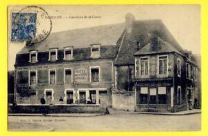cpa-RARE-61-ECOUCHE-Orne-Carrefoue-HOTEL-de-la-CORNE-Jules-HEROUIN-Cafe-Mairie