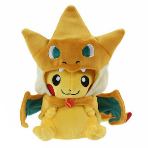 "Pikazard Pikachu with Mega Charizard Y Cape Pokemon Plush Toy Stuffed Animal 8"""