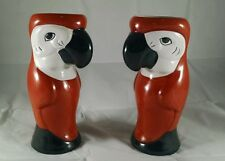 Tropical Parrot Tiki Mugs Hawaiian Cup Glass Vase Macaw Burnt Orange parrothead