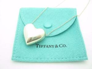 Tiffany co sterling silver puffed heart pendant necklace 18 image is loading tiffany amp co sterling silver puffed heart pendant aloadofball Images