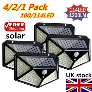 100LED-Solar-Power-Light-PIR-Motion-Sensor-Security-Outdoor-Garden-Wall-Lamp-UK