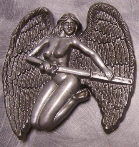 Pewter Belt Buckle novelty Winged Angel Warrior  NEW