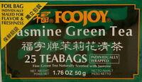 Foojoy Jasmine Green Tea, 25 Individually Wrapped Teabags, 1.76 Oz (50g) Box