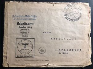 1945 bad aussee germany official arbeitsamt employment agency cover to frankfurt ebay. Black Bedroom Furniture Sets. Home Design Ideas
