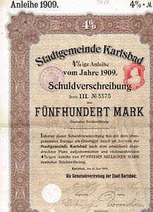 Stadtgemeinde-Karlsbad-1909-500-Mark-gelocht-VF