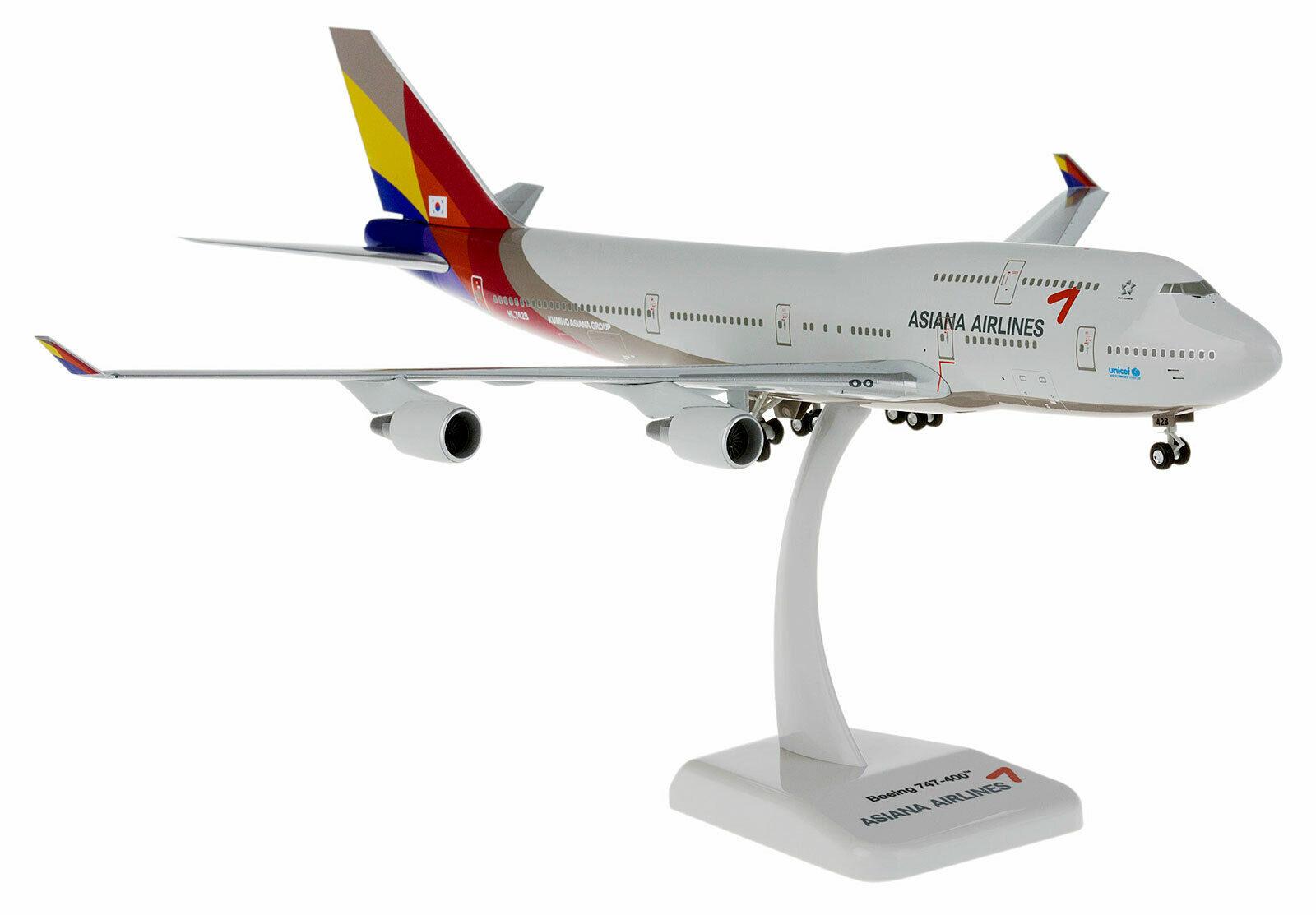 Asiana Airlines Boeing 747-400 1 200 HOGAN Wings aereo modello b747 NUOVO 3985