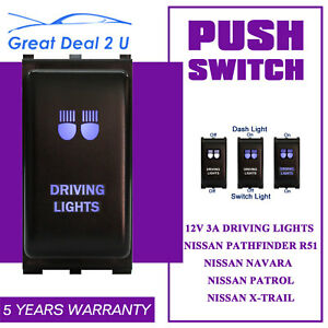 Fit-Nissan-Navara-Push-Switch-Blue-LED-DRIVING-LIGHTS-Pathfinder-Patrol-X-Trail