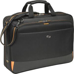 09cd9f570 Image is loading Solo-Urban-Ultra-Portfolio-Laptop-Briefcase-Black-Orange