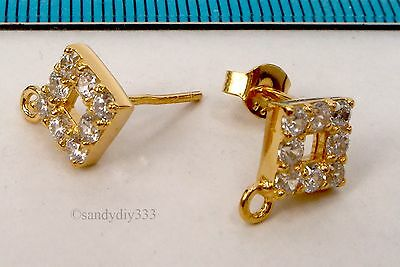 2x REAL 18K GOLD plated STERLING SILVER CZ SQUARE STUD LOOP POST EARRINGS G148