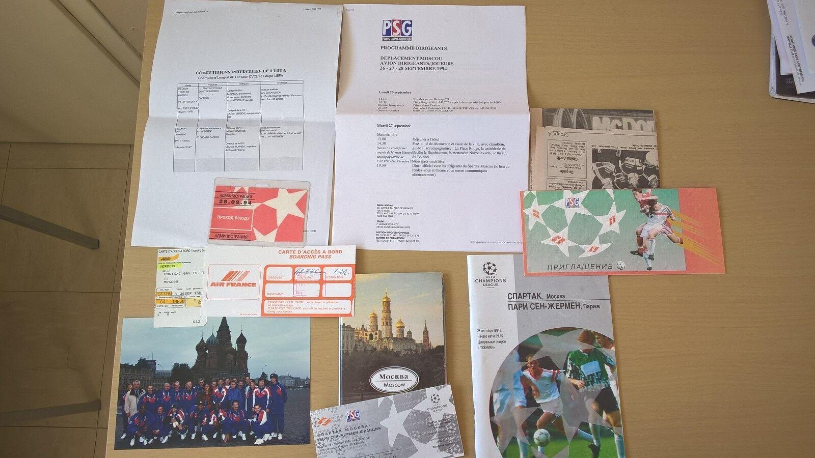 1994 Champion Psg Football Ligue Ticket Documen Spartak Moscou Des a0Yq7SUw