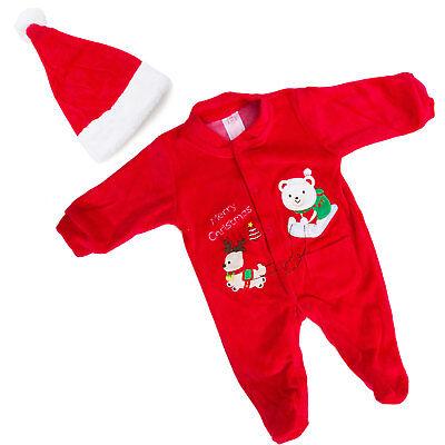 Bambino bambina unisex neonato tutina Babbo Natale cappello pagliaccetto FC-235