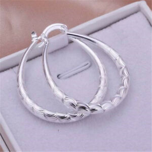 Fashion-Womens-Silver-925-Cute-Wedding-party-U-Earring-lady-jewelry-Gift